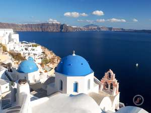 Iconic blue domed churces of Santorini