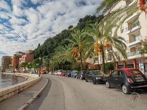 Tree lined streets on the waterfront of Villefranche-sur-mer